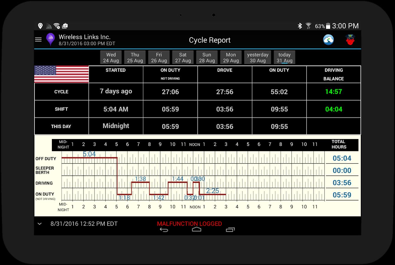 Driverlog logbook screenshot