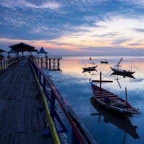 Kenjeran Beach by Robertho Ponomban - Landscapes Beaches ( beaches, blue, sunrise, boat, landscape )