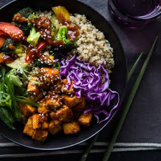 Korean Barbecue Tofu Bowls with Stir-Fried Veggies and Quinoa.