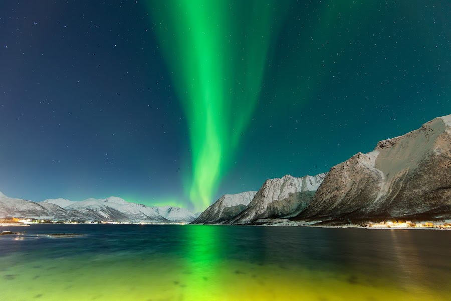 Aurora over fjord by Marius Birkeland - Landscapes Waterscapes ( sky, northern lights, aurora borealis, aurora, sea )