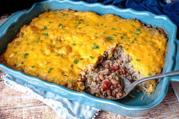Blondie's New Year's Day Black-eyed Pea Casserole Ready To Serve.