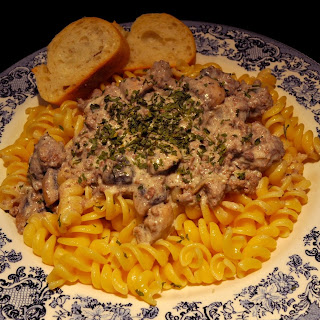 Betsy's Exotic Escape Beef and Mushroom Stroganoff