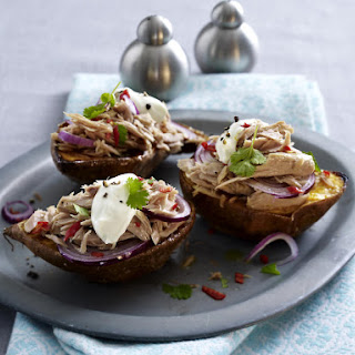 Baked Sweet Potatoes with Tuna, Onions and Sour Cream.
