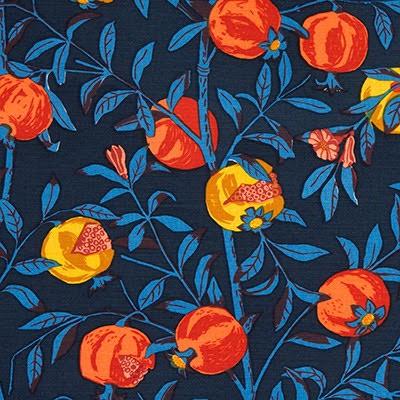 Granatäpple - blå/turkos av Jobs Handtryck