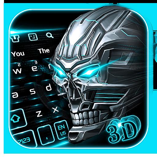 3D Neon Blue Skull Keyboard
