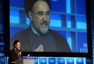 Photo: DAVOS/SWITZERLAND, 21JAN04 - H.E. Hojatoleslam Seyed Mohammad Khatami, President of the Islamic Republic of Iran, delivers a speech during the Welcome to the Annual Meeting 2004 of the World Economic Forum in Davos, Switzerland, January 21, 2004. 