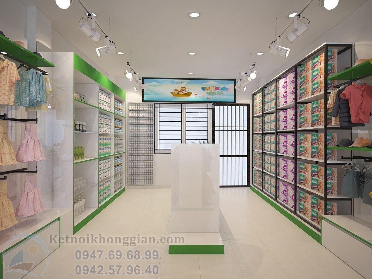 thiết kế shop mẹ và bé hiện đại với tông trắng kết hợp xanh