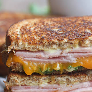 Grilled Ham and Cheese with Honey Mustard Sauce.