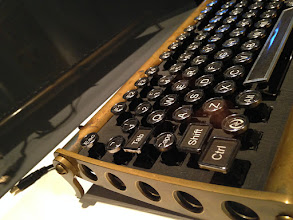 "Photo: Steampunk-style USB keyboard.  Exhibition ""The Mechanical Corps. On the Trail of Jules Verne"", Hartware MedienKunstVerein in the Dortmunder U through July 12 2015, http://hmkv.de"
