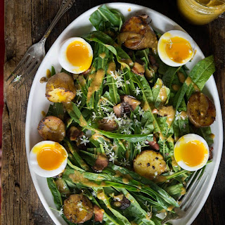 Puntarelle Salad with Duck Eggs, Potatoes & Bacon.