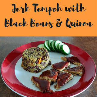 Jerk Tempeh with Black Beans and Quinoa.