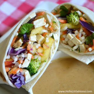 Crunchy Vegetable Wrap with Peanut-Coconut Dipping Sauce