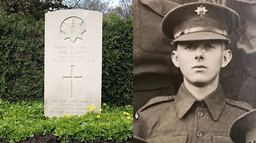 Guardsman Maurice Brian Albon, Irish Guards, 2 april 1945, Leeftijd 18, Oosterbegraafplaats Enschede.
