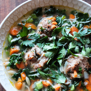 Turkey Meatballs, Kale and Orzo Soup