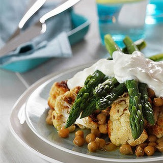 Chickpea, Cauliflower, Asparagus And Yoghurt Salad