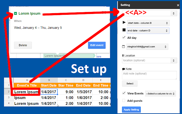 calendar events creator google sheets add on