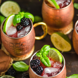 Blackberry Basil Moscow Mules.