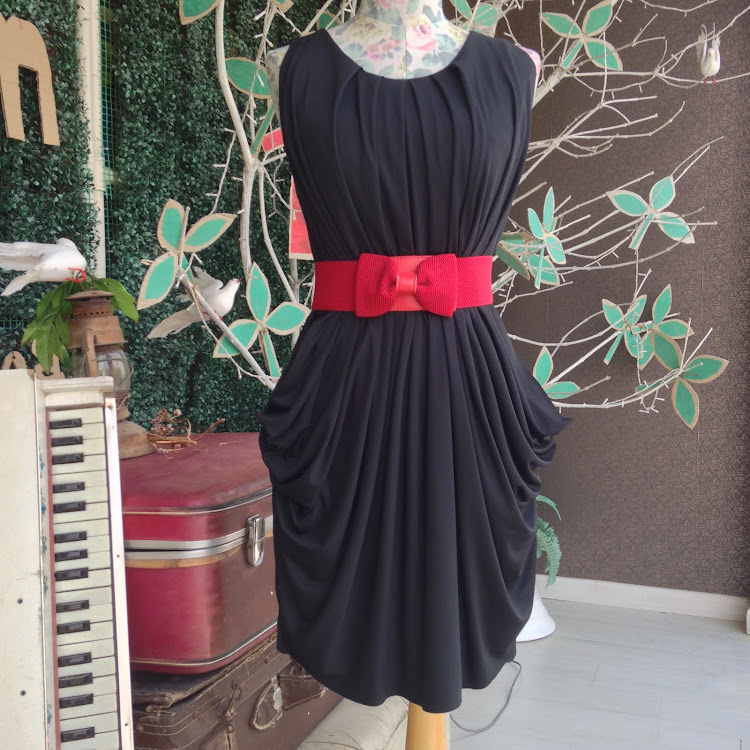 Rippled Party Dress in Black by Le Tea Boutique