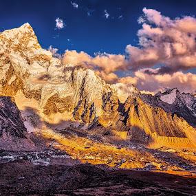 Nuptse Peak by Tien Sang Kok - Landscapes Mountains & Hills ( clouds, mountain, nature, sunset, landscape )