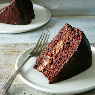 Chocolate Cake with Chocolate Filling and Ganache.