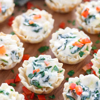 Spinach and Artichoke Dip Phyllo Cups.