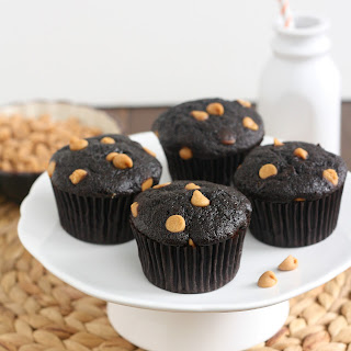 Cocoa Banana Muffins with Peanut Butter Chips.