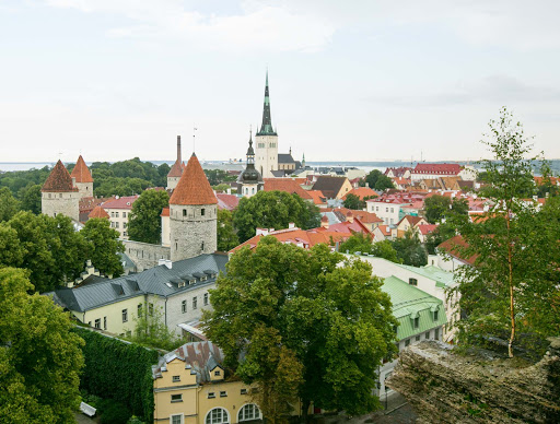 The charming cityscape of Tallinn, Estonia, recalls its medieval past, with buildings that date to the 13th century.