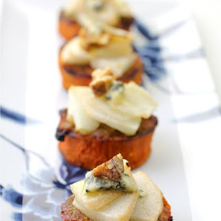 Pear Blue Cheese Yam Appetizers (Thanksgiving Recipe).