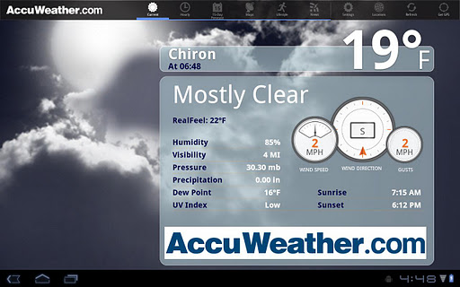 AccuWeather for Sony Tablet S screenshot 1