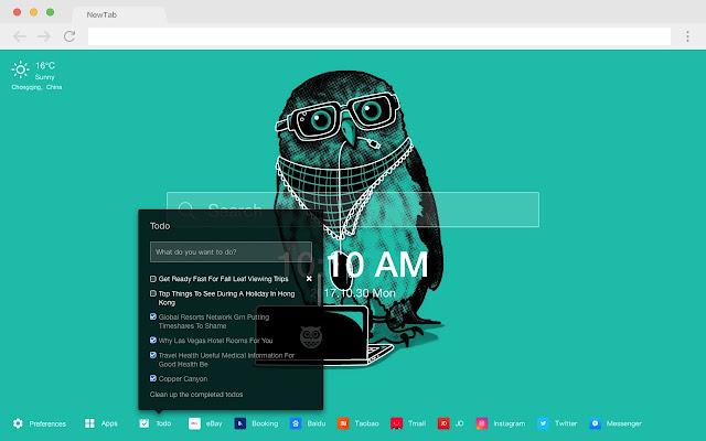Owl New Tab Page HD Pop Animals Theme