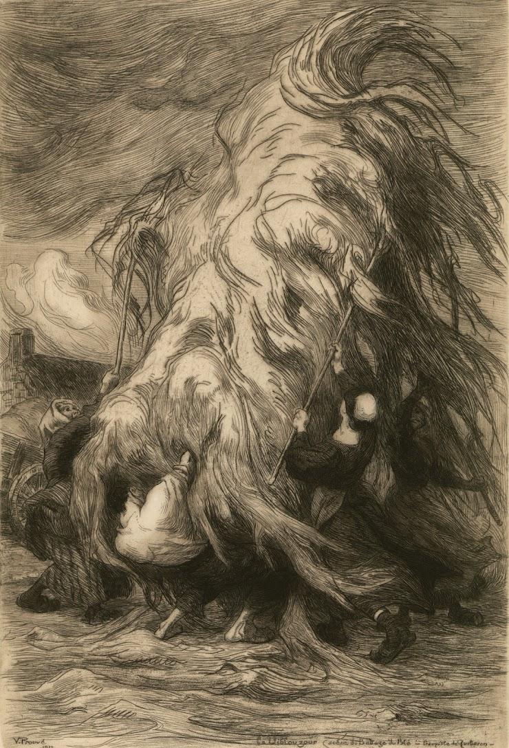 Victor Prouvé (Nancy, 1858 ; Sétif (Algérie), 1943) Le Viblouzour, Scène du battage du blé, Presqu'île de Quiberon, 1912 Eau-forte, signée, datée, 55 x 36 cm Coll. Musée de Pont-Aven, inv. 2003.3.30 © Musée de Pont-Aven