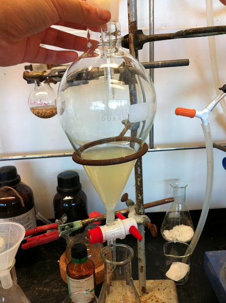 Photo: Transferring reaction mixture after 35 min