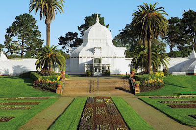 The Conservatory of Flowers, a greenhouse and botanical garden that houses exotic plants in Golden Gate Park.