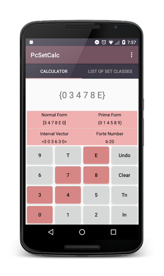 Pitch Class Set Calculator- screenshot
