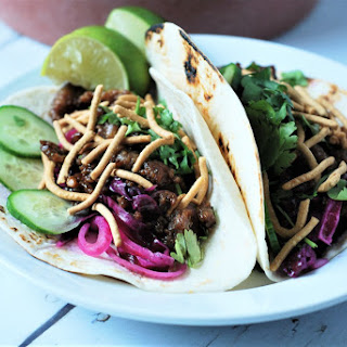 Hoisin Pork Tacos with Red Cabbage Slaw.