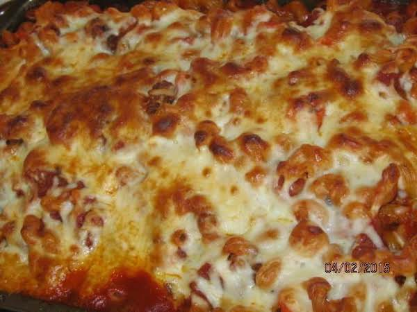 I Made Anna Mae Kantor's Recipe For Baked Italian Pasta, And I Am Sharing Pictures.  It Is A Wonderful Meal For A Family Or A Potluck Supper.  This Is The Second Time I've Made It.