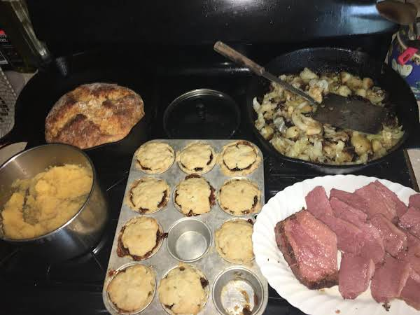 Neeps Aka Rutabaga. Irish Soda Bread. Bubble And Squeak. Corned Beef . Mini Mincemeat Pies
