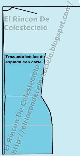 Trazando corte en el centro de patrón espalda