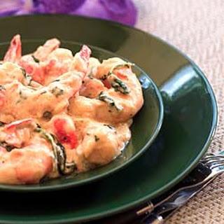 Shrimp in Cilantro Cream Sauce -- Camarones En Crema Con Cilantro.