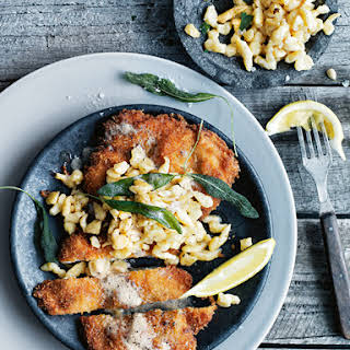 Chicken And Caraway Schnitzel With Buttermilk Spaetzle.
