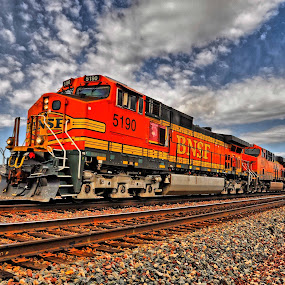 Route 66 Freight Train by Stephen Botel - Transportation Trains ( clouds, train tracks, freight train, bnsf, locomotive, arizona, seligman, train, route 66 )