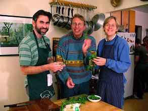 Photo: Andy, John & Vassili pulling holy basil leaves