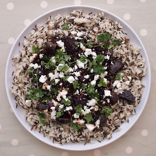 Warm Lentil, Beetroot and Feta Salad with Wild Rice.