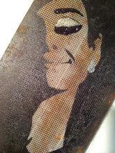 """Photo: Audrey Hepburn photographed by Douglas Kirkland, at the Studio de Bolougne, Paris, during the making of """"How to Steal a Million"""", November 1965  20x80cm  Soggetto realizzato con stencil fatto a mano, colori acrilici spray, strass di resina, cristallo decorativo su metallo e plastica.  Subject made with handmade stencil with spray acrylic colours, resin strass, deco crystal on metal and plastic.  DISPONIBILE  Per informazioni e prezzi: manualedelrisveglio@gmail.com"""