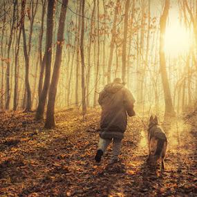 Man and dog by Bojan Dzodan - City,  Street & Park  City Parks ( nature, forest, dog, light, man, #GARYFONGDRAMATICLIGHT, #WTFBOBDAVIS )