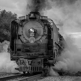 844 UP by Ray Ebersole - Black & White Objects & Still Life ( steam train, train, tour, steam )