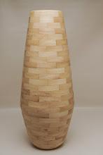 "Photo: Bob Grudberg 6"" x 17"" segmented vase [pecan]"