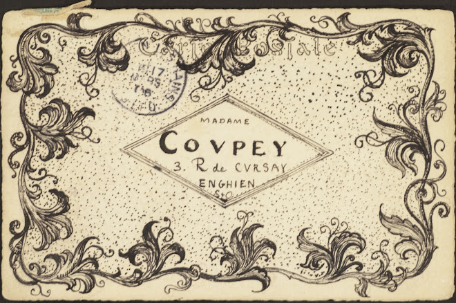 <p> <strong>L&eacute;on Coupey<br /> To Madame Coupey (Enghien)</strong><br /> Ink on card<br /> 3 &frac12;&quot; x 5 &frac12;&quot;<br /> 1906</p> <p> Collection Annik Coupey-Smith, Eastbourne, UK<br /> Set 7B.5&nbsp;</p>