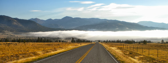 Photo: 9 am - Fog conceals Upper Holter Lake (Missouri River) 20 miles north of Helena