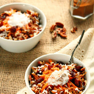 Spiced Carrot Cake Oatmeal with Coconut Cream